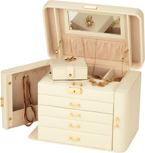 Extra Large Empress Jewellery Box / Ivory / Beige Real Leather Jewel Case by Mele Co Cardiff