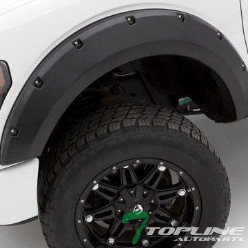 Topline Autopart Matte Black Pocket Style Rivet Fender Flares Wheel Cover Kit 6P Jr 09-14 Ford F150 (Ford Wheel Flares compare prices)