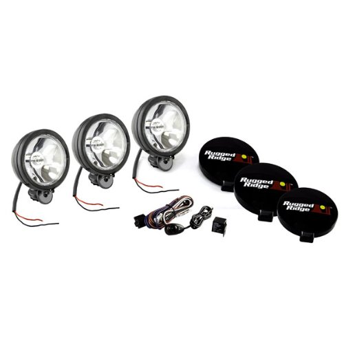 "Rugged Ridge 15207.61 100W 6"" Round Black Off-Road Fog Light with Wiring Harness - Set of 3"