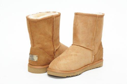 UniKoala Women's Classic Short Sheepskin Boots Chestnut (US Size 7)