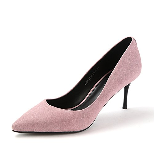 Chaussures pointues en daim glitter automne/Talons de verre/Asakuchi chaussures femme-pourpre Longueur du pied=22.8CM(9Inch)