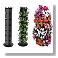 3-FOOT COLUMN PLANTER TOWER FOR FLOWERS VEGETABLES FRUIT HERBS - HOLDS 30 NURSERY-SIZE PLANTS