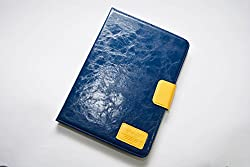 ASCENSION Imported Premium Fancy Designer Flip Flap Diary Wallet Case Cover for Apple iPad Air 2 (iPad 6) Tablet - Blue D11