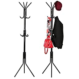 go2buy Coat Metal Rack Hat Stand Tree Storage Hanger Umbrella Holder 12 Hooks Black
