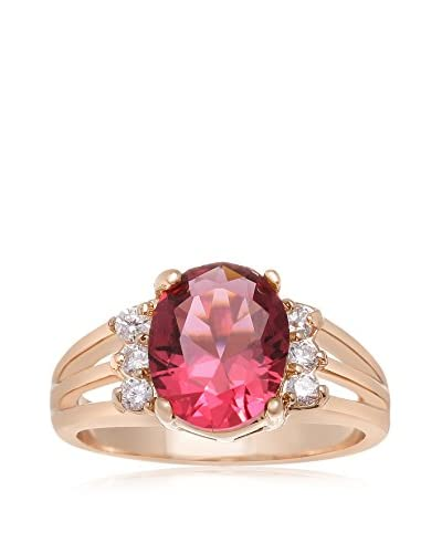 Adoriana Oval Crystal Ruby 18K Rose Gold-Plated Ring