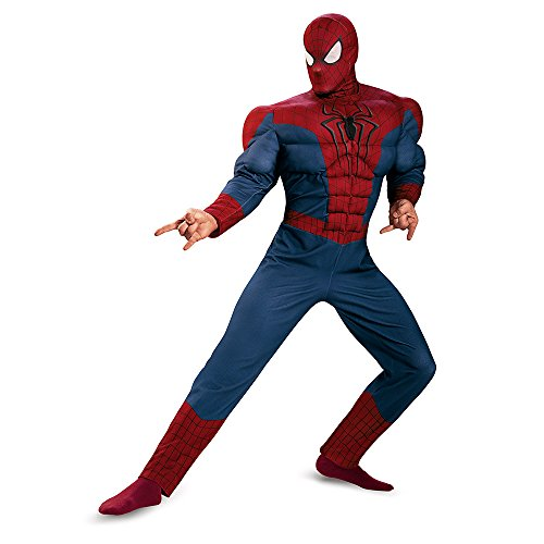Disguise Men's Marvel The Amazing Movie 2 Spider-Man Classic Muscle Costume, Blue/Red/Black, X-Large/42-46