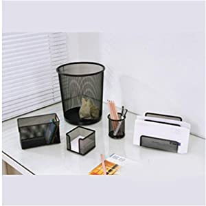 set organiseur de bureau madrid 5 accessoires design mesh noir fournitures de bureau. Black Bedroom Furniture Sets. Home Design Ideas