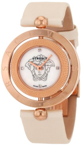 Versace Women's 79Q80SD497 S002 Eon Two Rings Rose-Gold Plated Mother-Of-Pearl Satin Diamond Watch