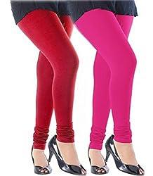 Khoobee Presents Cotton legging Combo Of 2 Pcs.(Red,Pink)