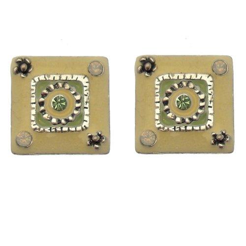 Acosta-giallo pallido, con cristalli Swarovski, misura piccola, stile Ethic-Orecchini a bottone, forma quadrata, in confezione regalo