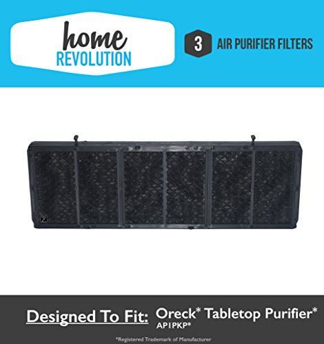 Oreck AP1PKP Tabletop Professional Pro Air Purifier Comparable Filter; Home Revolution Brand Quality Aftermarket Replacement (3)