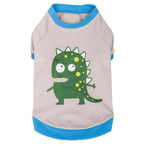 """Blueberry Pet Alien The Dinosaur Cotton Holiday Dog Shirt In Grey L Size 14"""" , Large front-461444"""