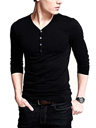 Ilovesia mens henley t shirts long sleeve with button for Henley t shirt long sleeve