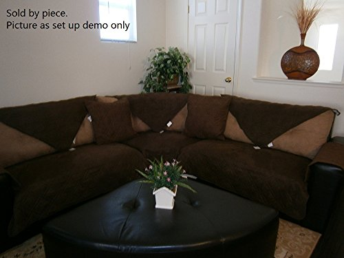 """Octorose ® Quilted Micro Suede Sectional Chaise Lounge Chair Sofa Slipcover Pad Furniture Protector Sold By Piece Rather Than Set (Dark Brown, 35x70"""")"""