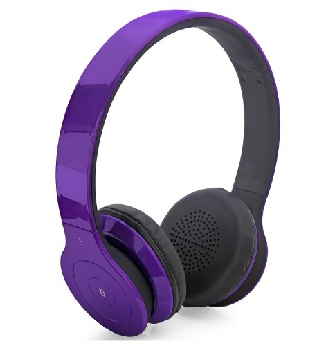 Aduro Amplify Sb10 Bluetooth Wireless Stereo Headphones / Headset With Built-In Mic (Retail Packaging) (Purple)