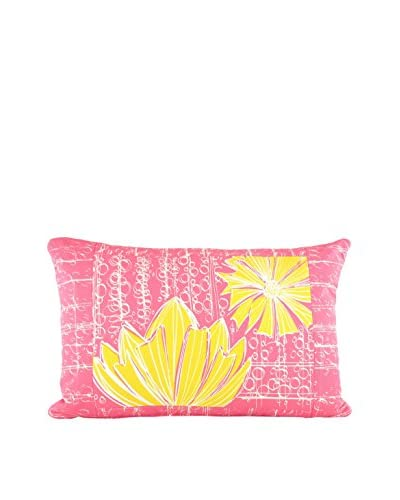 Jacque Pierro Duches In Pink Lemonade Large Pillow, Pink/Yellow/White