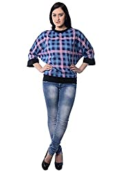iamme Rayon Loose Fitted Tee Top in Blue Checks and Black Ribs