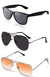 Magjons 2 Black - Orange Aviator And 1 Wayfarer Sunglasses For Men Combo of 3