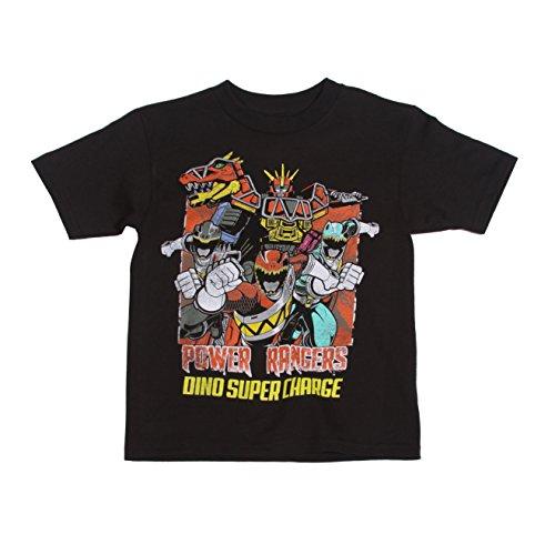 Power Rangers Little Boys' Dino Charge Short-Sleeved Tee, Black, 5/6 (Black Ranger Shirt compare prices)