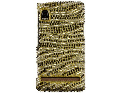 Reinforced Diamond Covered Phone Case Gold and Black Skin For Motorola Droid A855