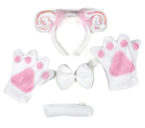 White Pink Sheep Goat Headband Bowtie Tail Gloves 4pc Halloween Party Costume