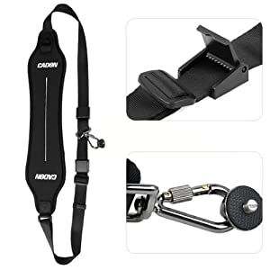 CowboyStudio Caden Quick Wide Neck Shoulder Strap for Canon Nikon Sony Pentax Olympus Panasonic Cameras in Black Color