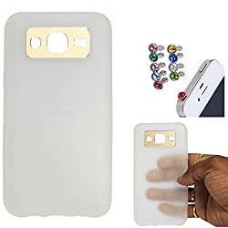 DMG iFace Scratch-Resistant Slim Silicone Shock Proof TPU Back Cover Case for Samsung Galaxy J5 J500 (White) + 3.5mm Jewel Dust Jack