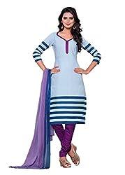 SayShopp Fashion Women's Unstitched Regular Wear Cotton Printed Salwar Suit Dress Material (ZDM-08_Blue,Purple_Free Size)