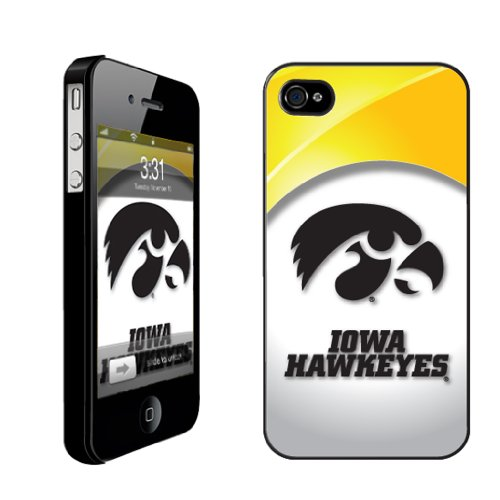 University of Iowa iPhone Hard Case #2   (Tiger Hawk White)   Black Protective iPhone 4/iPhone 4S Case.