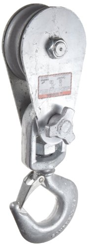 Campbell 7339794 Drop Side Steel Snatch Block with Fixed Hook, Galvanized Zinc, 16000 lbs Load Capacity, 6