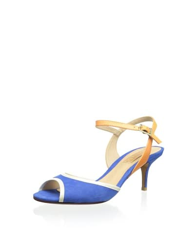 Schutz Women's Ankle Strap Sandal  - Blue/Peach/White