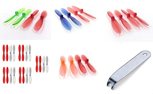 Hubsan-X4-H107D-QTY-1-Red-Clear-Propeller-Blades-Props-5x-Propellers-Transparent-QTY-1-Rotor-Set-55mm-Factory-Units-QTY-1-Blue-and-QTY-1-Gre-FAST-FROM-Orlando-Florida-USA