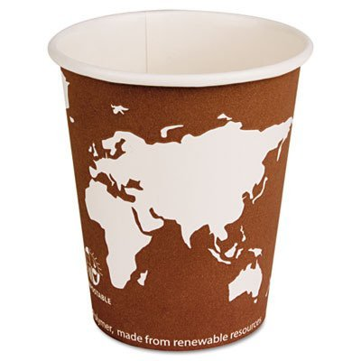 Eco Products Epbhc10Wa World Art Renewable Resource Compostable Hot Drink Cups, 10 Oz, Rust, 1000/Ctn
