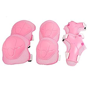 Como Children Skating Sports Wrist Elbow Knee Pad Guard Pink