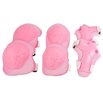 Children Skating Sports Wrist Elbow Knee Pad Guard Pink