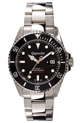 Gigandet Automatik Herren-Armbanduhr Sea Ground Taucheruhr Uhr Datum Analog Edelstahlarmband Schwarz Silber G2-002