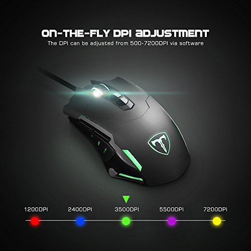 7200 DPI Gaming Mouse, VicTsing® Programmable 7 Button LED Wired