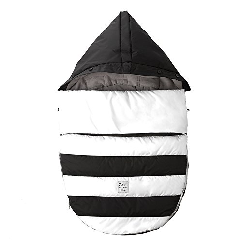 7AM Enfant Bee Pod Baby Bunting Bag for Strollers and Car-Seats with Removable Back Panel, Black/White, Small/Medium - 1