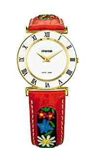 Jowissa Women's J2.036.M Roma Ethno Gold PVD Stainless-Steel Red Floral Design Watch