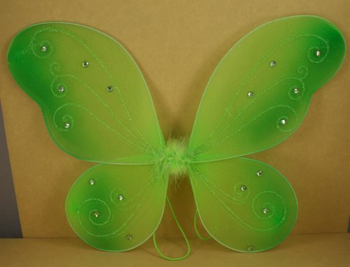 "Apple Green Butterfly Fairy Costume Wings 18"" X 14"""