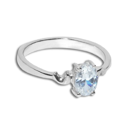 Donna in Argento Sterling 925 Band Anello solitario con Zirconia cubica - 8