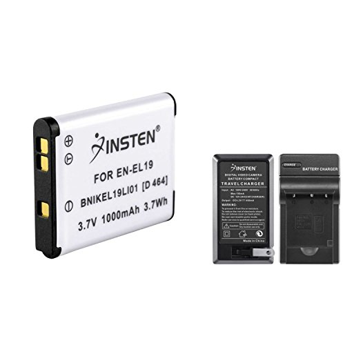 Insten® EN-EL19 Battery+Battery Charger+Car Charger Compatible with Nikon CoolPix S3100 / S6600 Camera