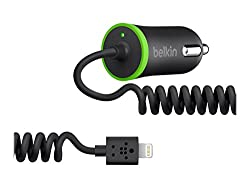 BELKIN Car Charger with COILED Lightning connector for iPhone 5, iPad mini, iPad (10 Watt/2.1 Amp)