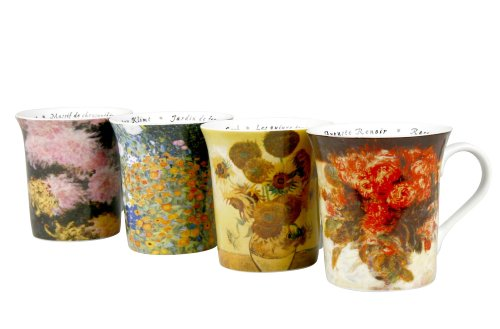 Konitz Les Fleurs Chez 12-Ounce Mugs, Set of 4, Assorted Designs