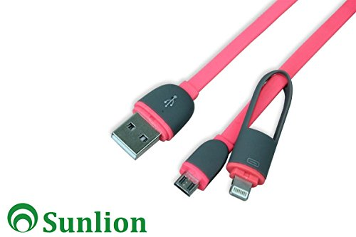Sunlion 2 in 1 Fashion Design USB Cable Lighting to USB for Iphone 6 Plus / 6 / 5s / 5c / 5, Ipad Air 2 / Air 1, Ipad 4, Ipad Mini 3 / 2 / 1, Ipod Touch 5, Ipod Nano 7, Mirco USB for Samsung Galaxy S5, S4, S3, S2, Note 4, Note 3, Note 2, Note, Tab 3, 2, Lg G3, G2, Nexus, Motorola, Htc, Other Android & Windows Smartphones / Tablets