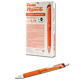 Pentel KL257 HyperG - Bolígrafo roller retráctil de gel, 0,35 mm, 12 unidades, color naranja