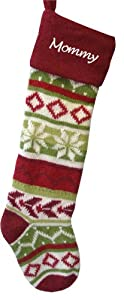 Wool Christmas Stockings - Red Cuff - Hand Knitted Personalized Free