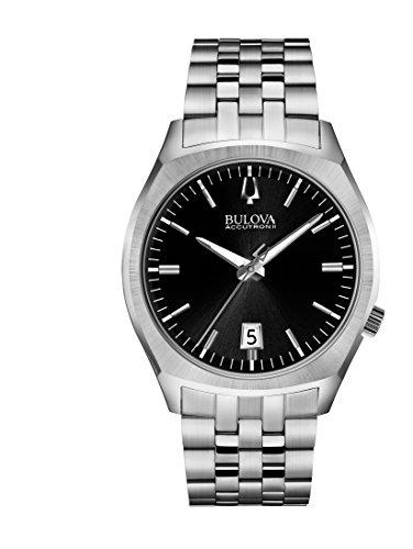 Bulova Accutron II Men's Quartz Watch with Black Dial Analogue Display and Silver Stainless Steel Bracelet 96B214