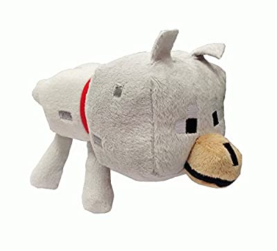 "8"" Wolf Plush Toy Overworld Core Animal Compare Minecraft by Jazware"