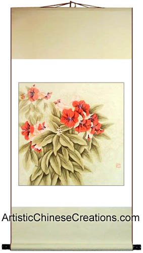 Chinese Art / Chinese Painting Scroll / Original Chinese Painting - Flowers